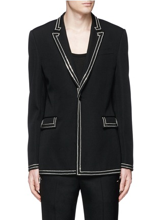 Main View - Click To Enlarge - Givenchy Beauty - Curb chain piping virgin wool blazer