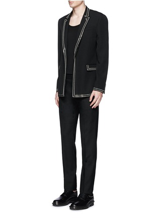 Figure View - Click To Enlarge - Givenchy Beauty - Curb chain piping virgin wool blazer