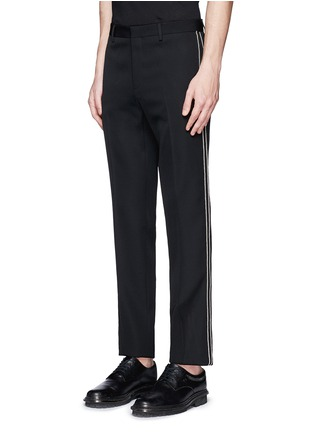 Front View - Click To Enlarge - Givenchy - Curb chain side stripe virgin wool pants
