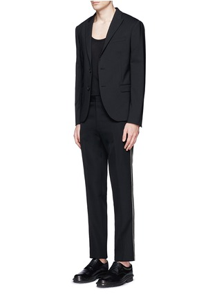Figure View - Click To Enlarge - Givenchy - Curb chain side stripe virgin wool pants