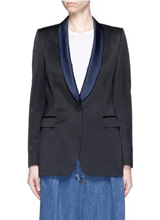 Main View - Click To Enlarge - Dries Van Noten - 'Brisa' satin shawl lapel tuxedo jacket