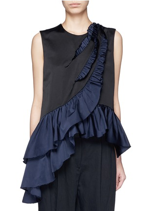 Main View - Click To Enlarge - Dries Van Noten - 'Clara Bis' asymmetric ruffle sleeveless top