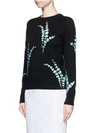 Front View - Click To Enlarge - Dries Van Noten - 'Jackleen' leaf sequin cashmere sweater