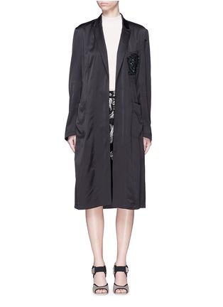Detail View - Click To Enlarge - Dries Van Noten - 'Rella' sequin embroidery pocket satin coat