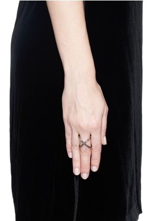 Figure View - Click To Enlarge - Core Jewels - 'Mobius' black diamond ruthenium plated 18k gold ring