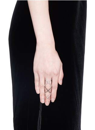 Figure View - Click To Enlarge - Core Jewels - 'Mobius' diamond rhodium plated silver full finger ring