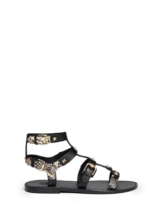 Main View - Click To Enlarge - Ash - 'Morocco' pyramid stud gladiator sandals