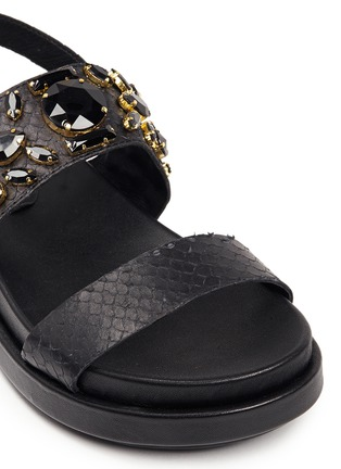 Detail View - Click To Enlarge - Ash - 'Stone' embellished leather slingback sandals