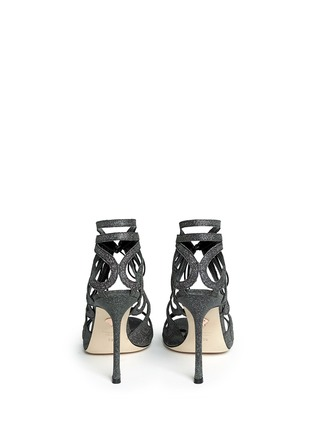 Back View - Click To Enlarge - CHELSEA PARIS - 'Ada' glitter fabric caged sandal booties