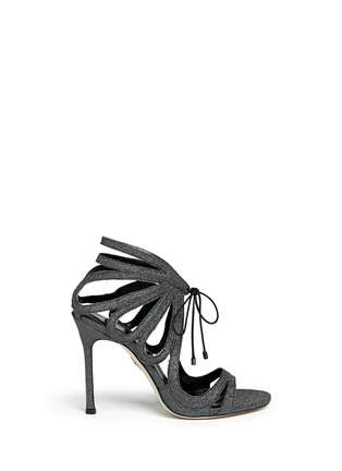 Main View - Click To Enlarge - CHELSEA PARIS - 'Ada' glitter fabric caged sandal booties