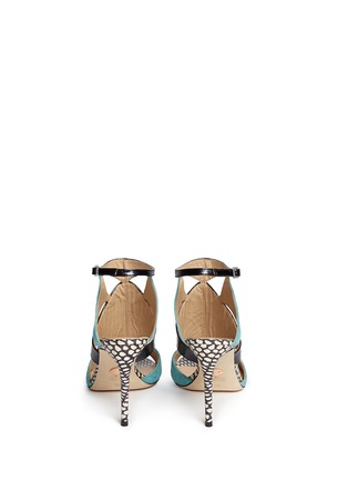 Back View - Click To Enlarge - CHELSEA PARIS - 'Huzar' mix snakeskin leather caged sandals