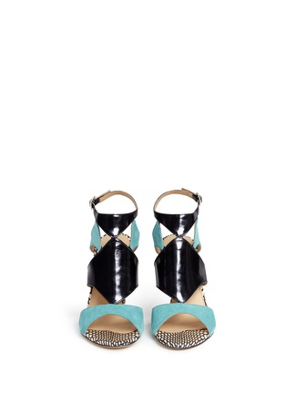 Front View - Click To Enlarge - CHELSEA PARIS - 'Huzar' mix snakeskin leather caged sandals