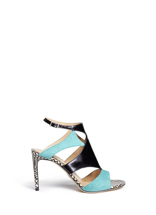Main View - Click To Enlarge - CHELSEA PARIS - 'Huzar' mix snakeskin leather caged sandals