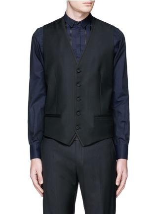 Detail View - Click To Enlarge - Dolce & Gabbana - Satin peak lapel wool-silk tuxedo blazer and waistcoat set
