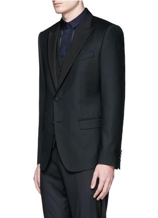 Front View - Click To Enlarge - - - Satin peak lapel wool-silk tuxedo blazer and waistcoat set