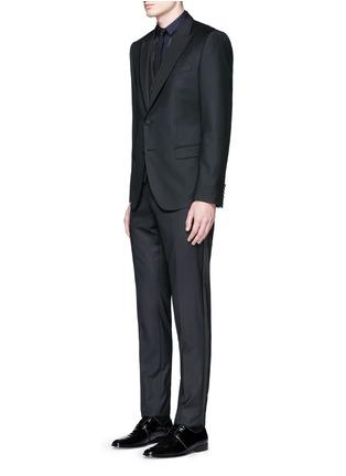 Figure View - Click To Enlarge - Dolce & Gabbana - Satin peak lapel wool-silk tuxedo blazer and waistcoat set