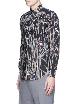 Front View - Click To Enlarge - - - 'Gold' bird and bamboo print poplin shirt