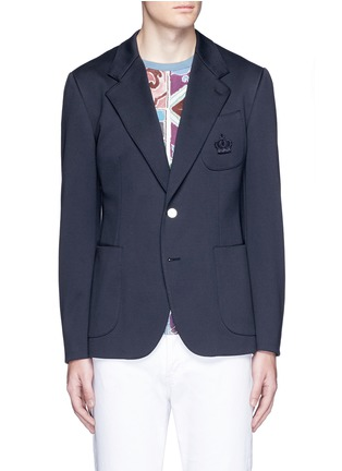Main View - Click To Enlarge - Dolce & Gabbana - Crown embroidery jersey blazer