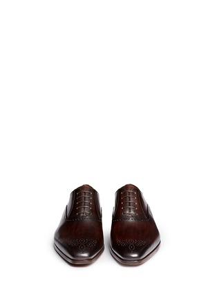 Front View - Click To Enlarge - Magnanni - Medallion toe cap five eyelet leather Oxfords