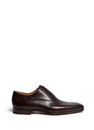 Main View - Click To Enlarge - Magnanni - Medallion toe cap five eyelet leather Oxfords
