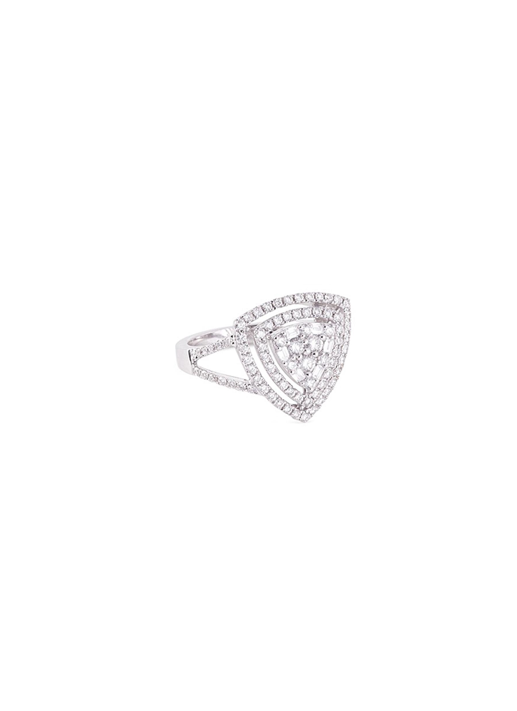 Diamond 18k gold triangle cutout ring