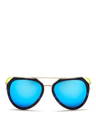 Main View - Click To Enlarge - MATTHEW WILLIAMSON - Stainless steel rim angular aviator mirror sunglasses