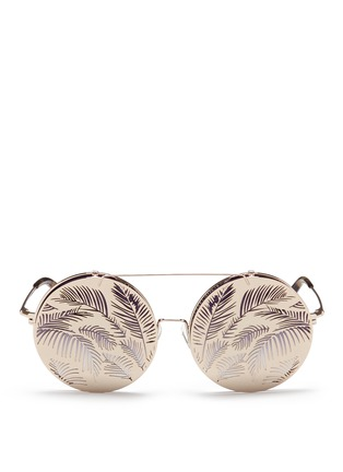 Main View - Click To Enlarge - Matthew Williamson - Leaf cutout flip cover metal round sunglasses