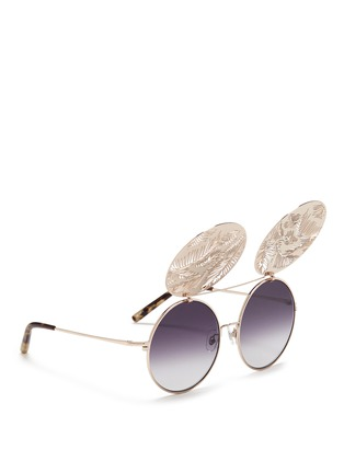 Figure View - Click To Enlarge - Matthew Williamson - Leaf cutout flip cover metal round sunglasses