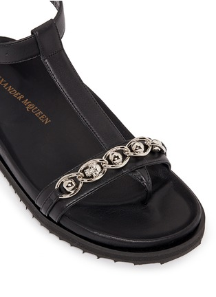 Detail View - Click To Enlarge - Alexander McQueen - Skull chain leather T-strap sandals