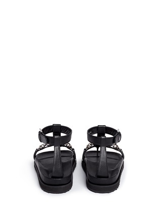 Back View - Click To Enlarge - Alexander McQueen - Skull chain leather T-strap sandals