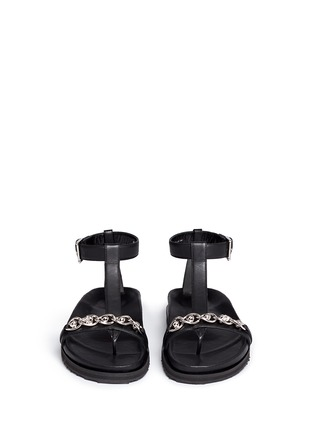 Front View - Click To Enlarge - Alexander McQueen - Skull chain leather T-strap sandals