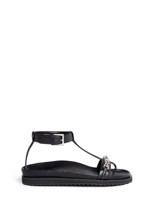 Main View - Click To Enlarge - Alexander McQueen - Skull chain leather T-strap sandals