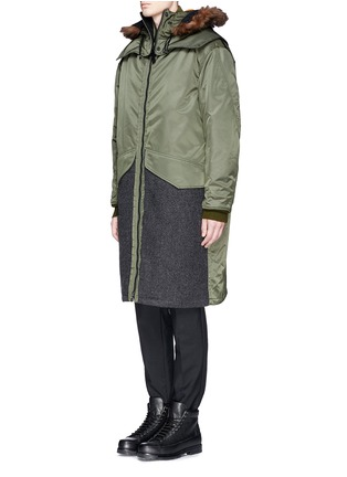 Front View - Click To Enlarge - 3.1 Phillip Lim - Detachable shearling hood oversized parka
