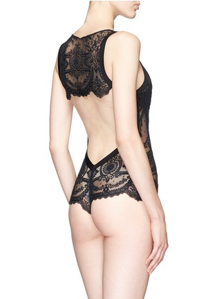 Back View - Click To Enlarge - La Perla - 'Neoprene Desire' open back lace tulle bodysuit