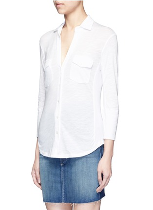 Front View - Click To Enlarge - James Perse - Ribbed side slub jersey shirt