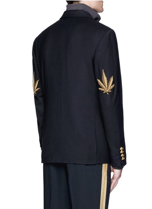 Back View - Click To Enlarge - Palm Angels - Hemp leaf embroidery double breasted soft blazer