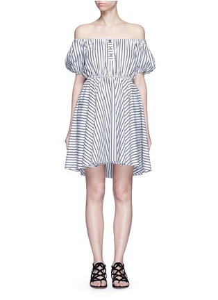 Main View - Click To Enlarge - Caroline Constas - 'Bardot' stripe off-shoulder dress