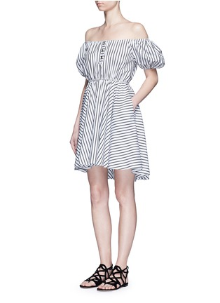 Figure View - Click To Enlarge - Caroline Constas - 'Bardot' stripe off-shoulder dress