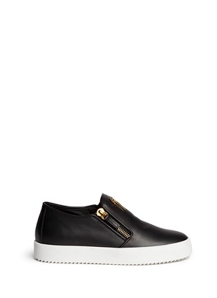 Main View - Click To Enlarge - Giuseppe Zanotti Design - 'May London' logo leather skate slip-ons