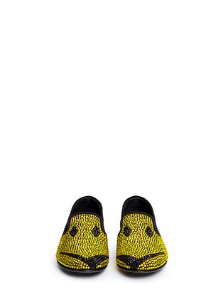 Front View - Click To Enlarge - Giuseppe Zanotti Design - 'Dalila' strass suede slip-ons
