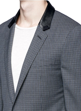 Detail View - Click To Enlarge - Lanvin - Leather collar check wool blazer