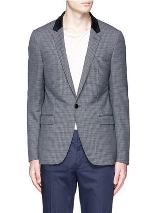Main View - Click To Enlarge - Lanvin - Leather collar check wool blazer