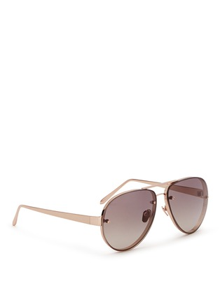 Figure View - Click To Enlarge - Linda Farrow - Mounted lens titanium aviator sunglasses