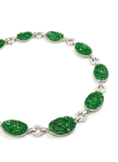 Samuel Kung Diamond jade 18k white gold station charm necklace