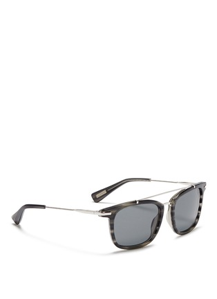 Figure View - Click To Enlarge - Lanvin - Herringbone chain temple tortoiseshell acetate square sunglasses