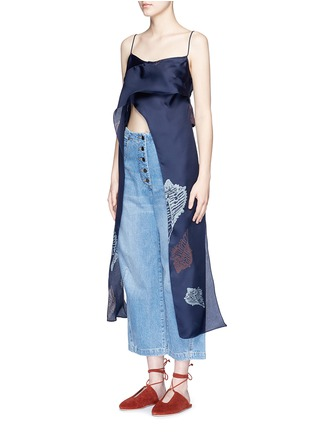 Front View - Click To Enlarge - Rachel Comey - 'Virden' conch print drape cropped camisole top