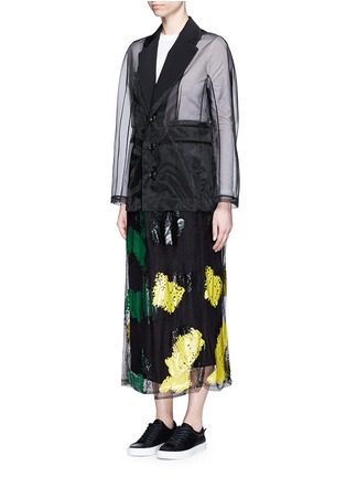 Front View - Click To Enlarge - TOGA ARCHIVES - Coated paint mesh hem organdy long coat