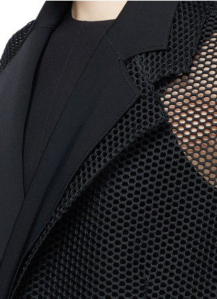 Detail View - Click To Enlarge - TOGA ARCHIVES - Lapel overlay ruffle hem mesh coat