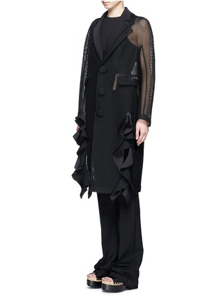 Front View - Click To Enlarge - TOGA ARCHIVES - Lapel overlay ruffle hem mesh coat