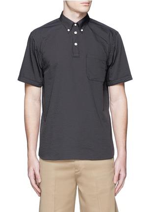 Main View - Click To Enlarge - nanamica - Stripe seersucker wind shirt